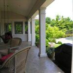Caesar-stone pattern colored concrete porch floor