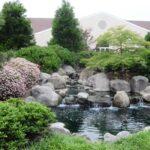 Natural stone koi pond and stream