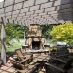 Pergola with custom stone fireplace, Lancaster