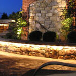 Stone terrace walls with under-seat lighting