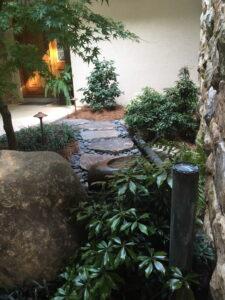 Entrance garden exudes a gracious welcome