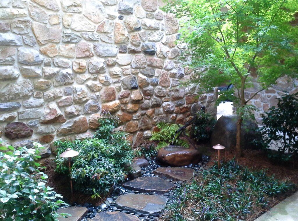 Japanese Courtyard garden with tsukubai at home entrance, Palmyra, PA