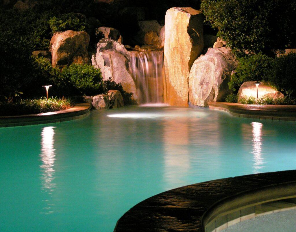 Lighting to enjoy waterfall and pool every night, Manheim, PA