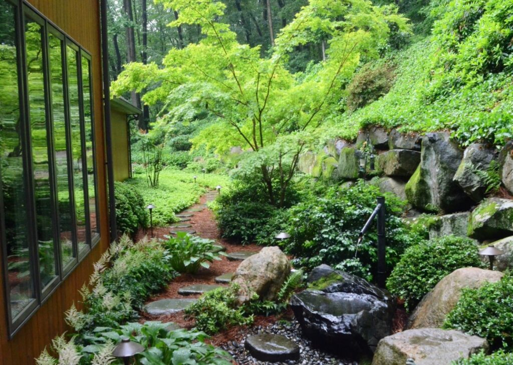 Tsukubai water feature and stepping stones are part of this home's window view, Lancaster, PA