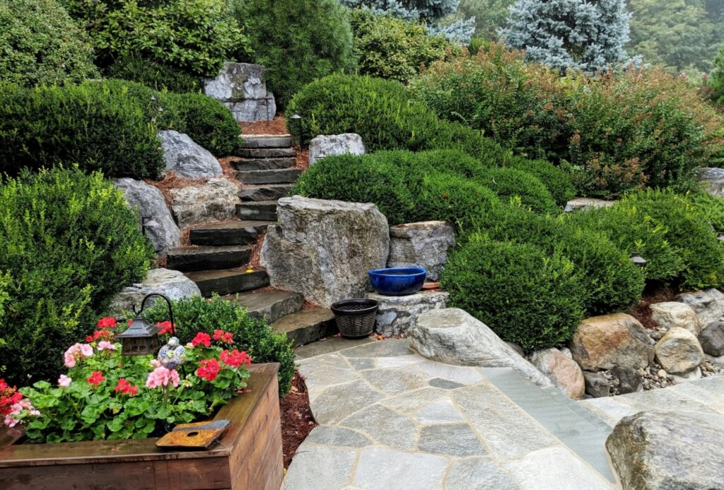 Natural stone paving connects with stone slab staircase, Lancaster, PA
