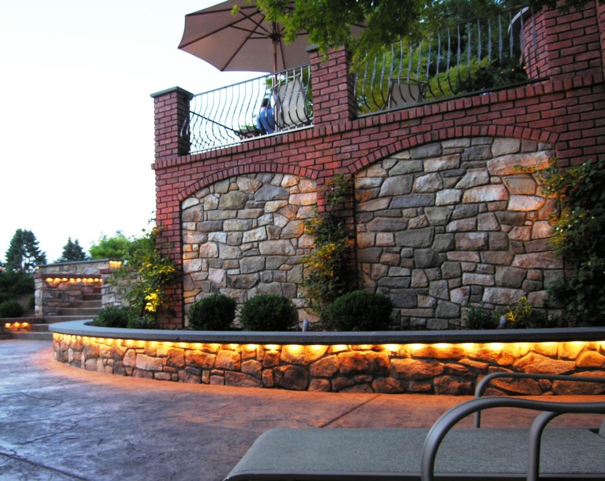 Masonry garden terraces incorporating aluminum railing and custom built-in lighting, Lancaster, PA