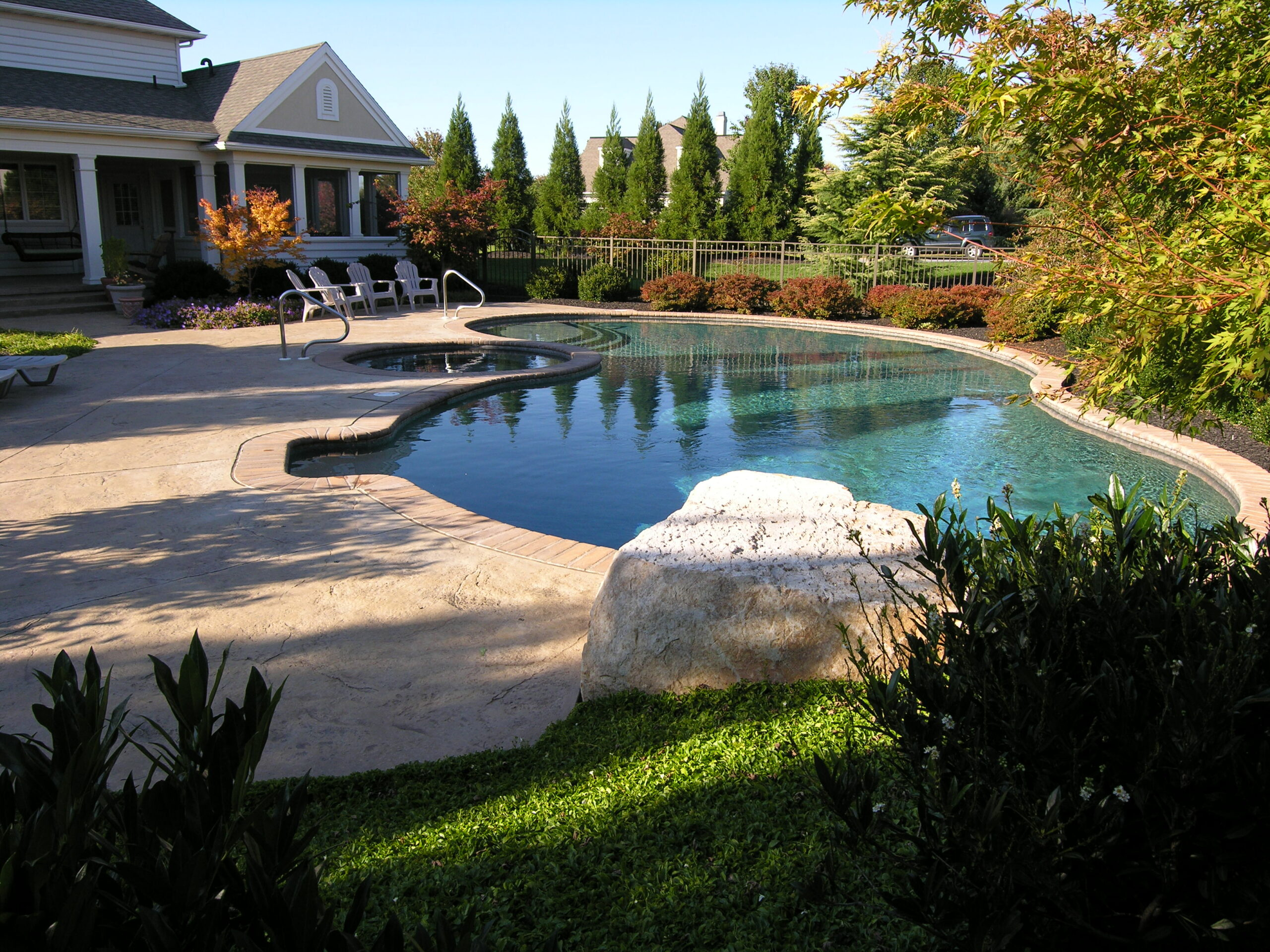 Private oasis developed from sloping, exposed corner lot, Lancaster, PA