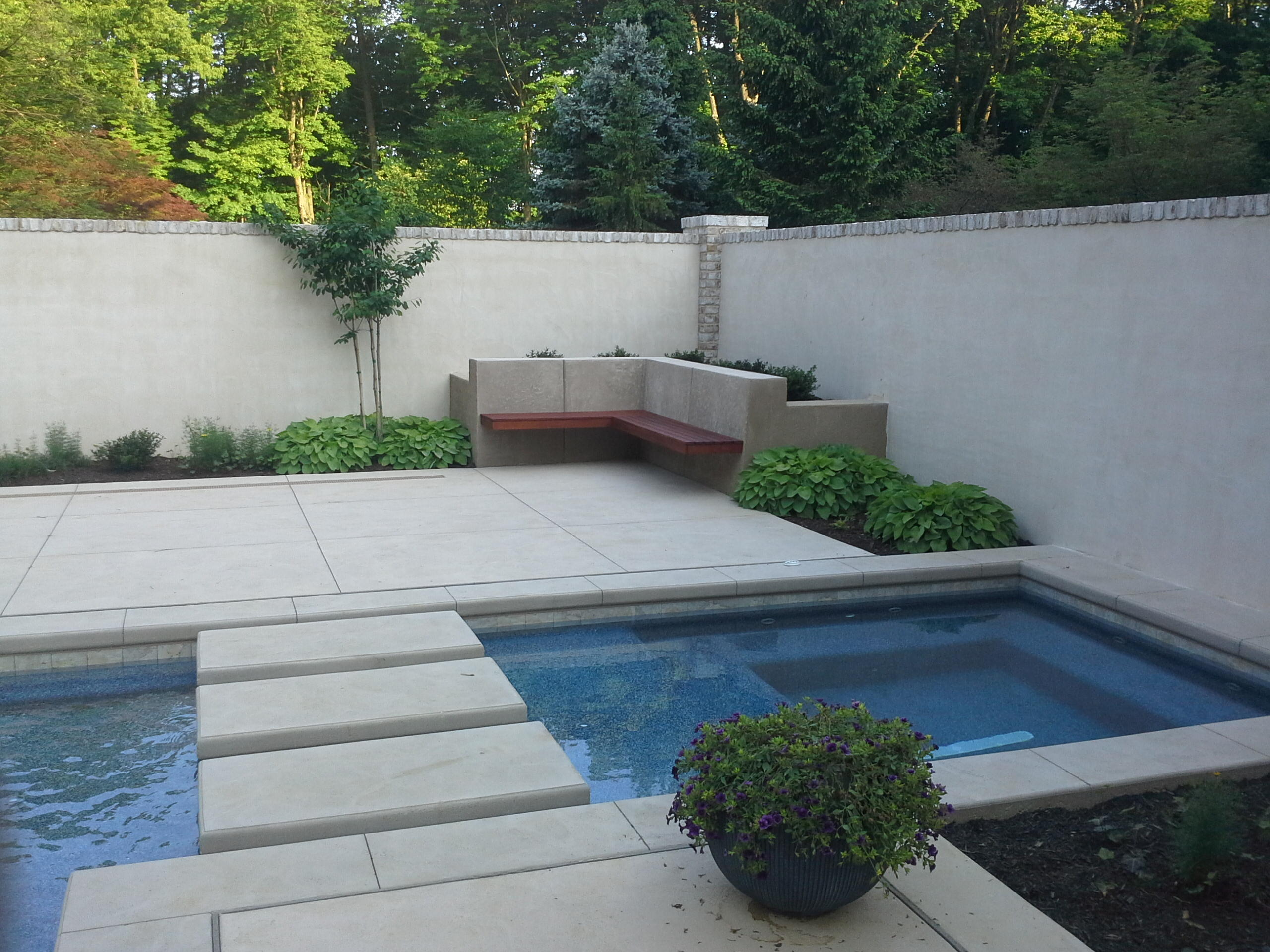 Hot tub can flow like a stream through steps to warm pool, or operate independently, Lancaster, PA