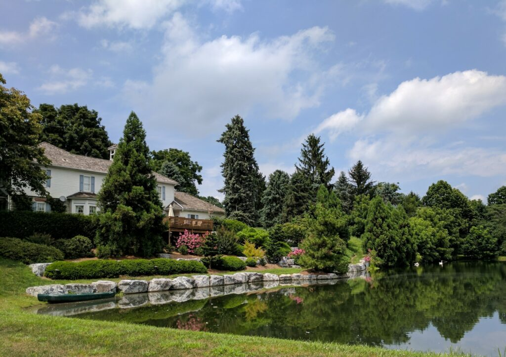 Lawn ramps and garden plantings replace steep bank, providing access to farm pond, Manheim, PA