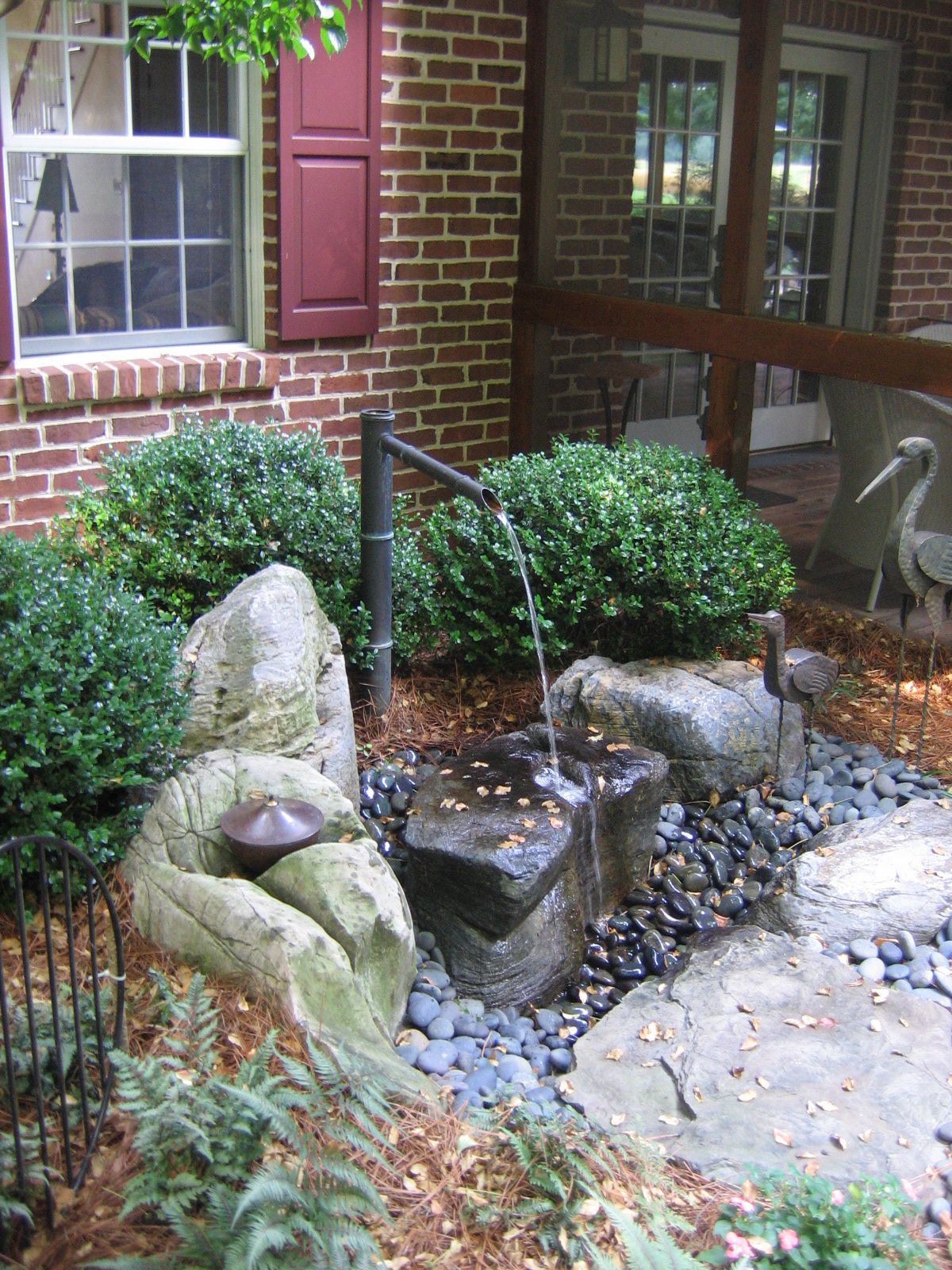 Tsukubai flows onto treasured stone which client saved from childhood, Elizabethtown, PA
