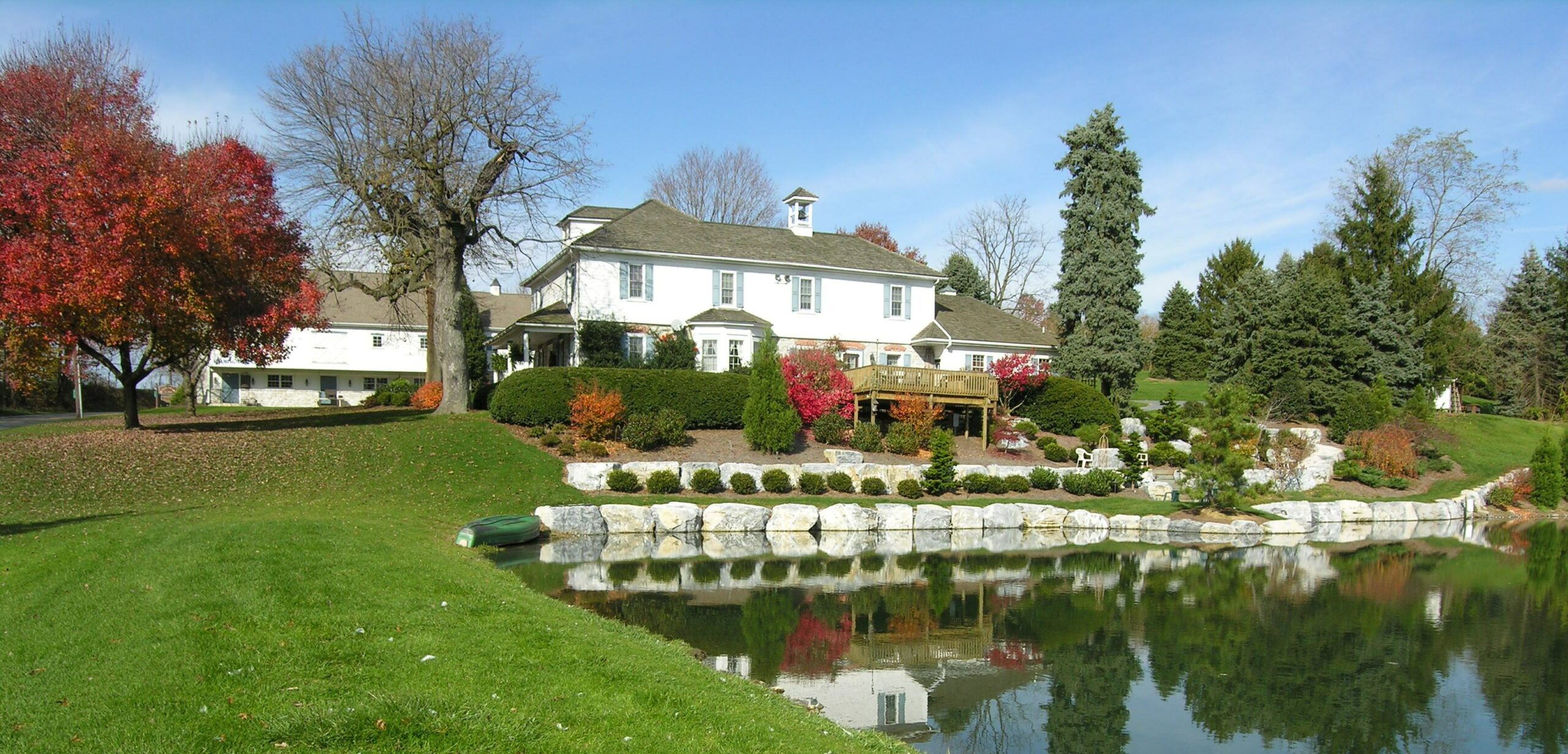 Farm pond bank-stabilization provides access terraces for grandparents to fish with grandchildren, Lititz, PA
