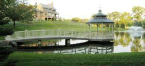 """Arched bridge to gazebo that """"floats"""" on pond, Elizabethtown, PA"""