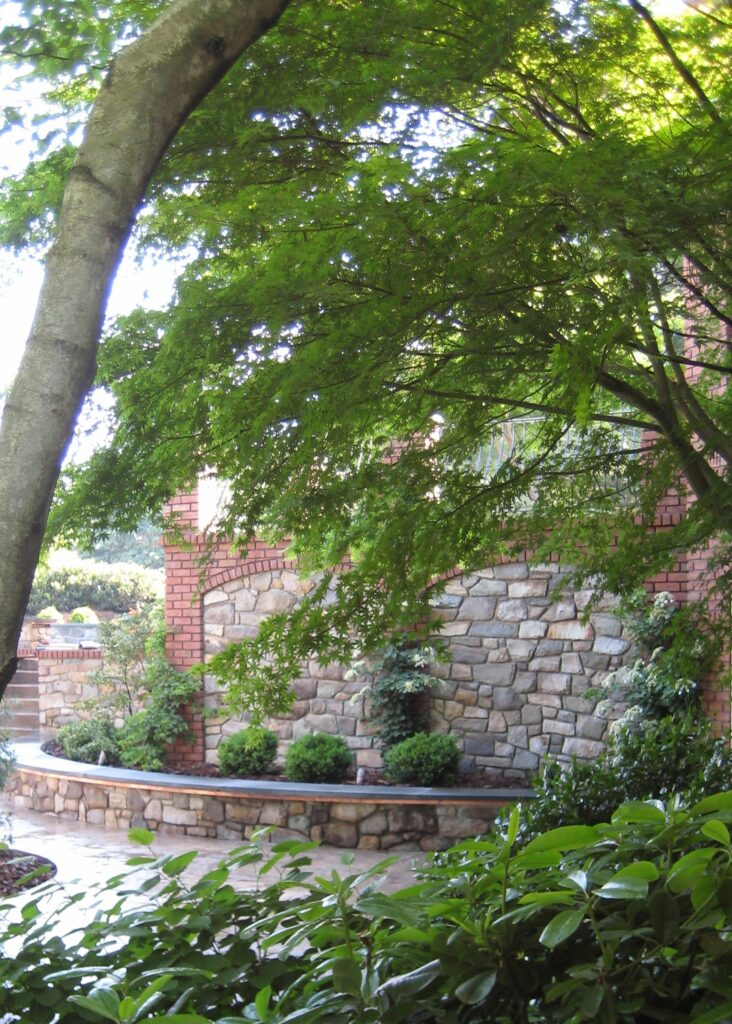 Enduring stone walls with new spring growth, Lancaster, PA