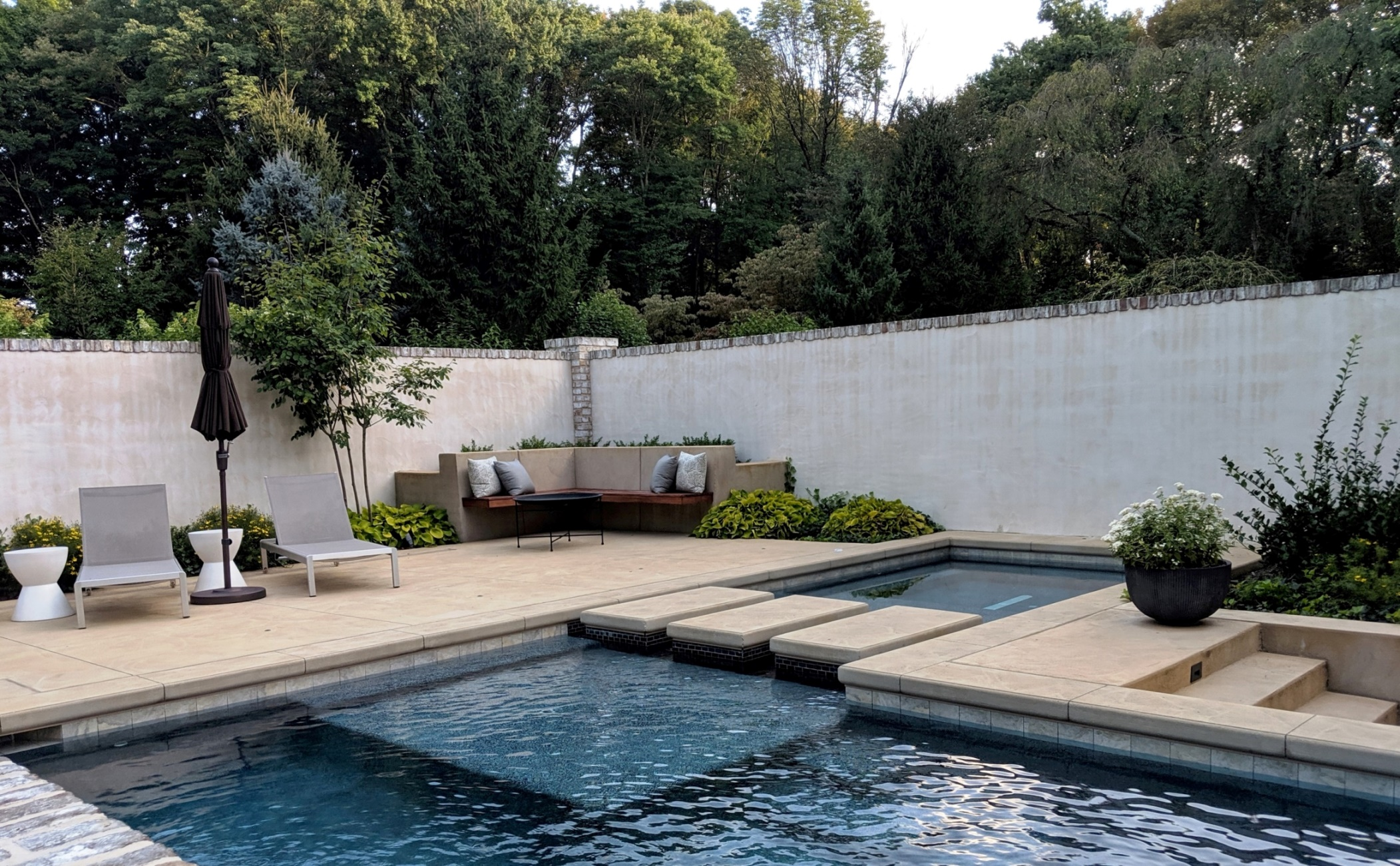 Contemporary pool and private courtyard create elegant oasis, Lancaster, PA