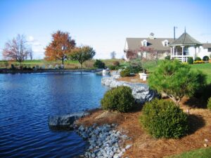 Boulders and plantings add function and interest to farm pond on rural estate, Manheim, PA
