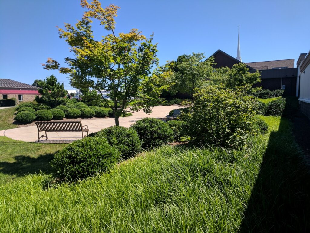 Gathering place and garden view at church entrance, Manheim, PA