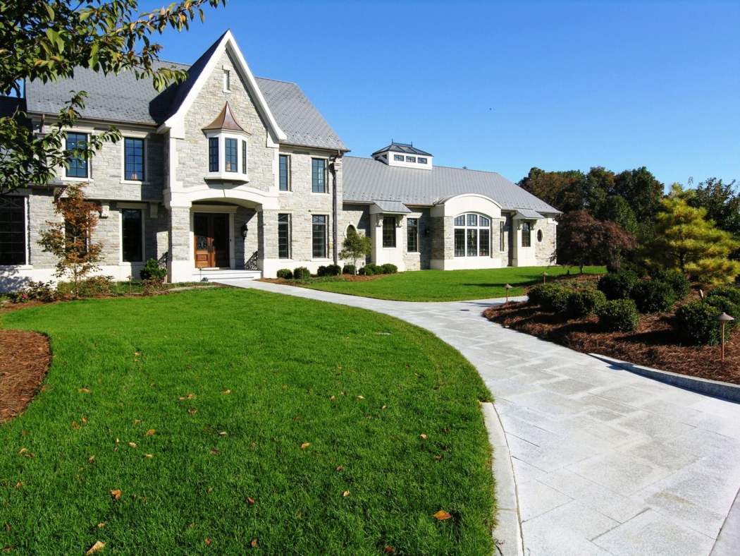 A clean inside-out design respects the elegant architecture of this home, while screening the roadway (right of photo), Lititz, PA