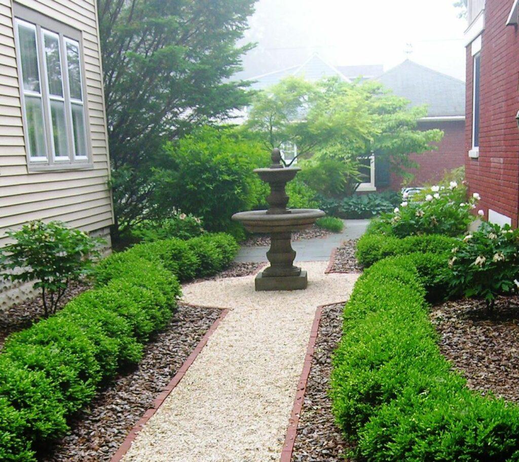 European courtyard as small town entrance garden, Manheim, PA