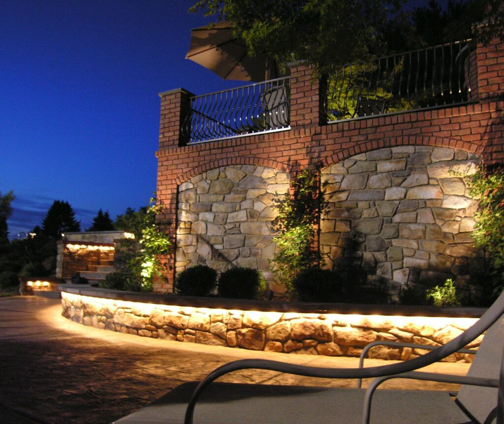 Stone terrace walls with custom under-seat lighting, Lancaster, PA