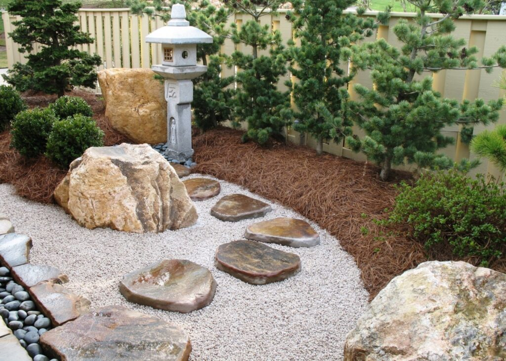 Japanese courtyard garden with tobiishi stepping stones, Bryn Mawr, PA
