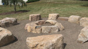 Rugged boulders provide seating and form fire pit, Manheim, PA