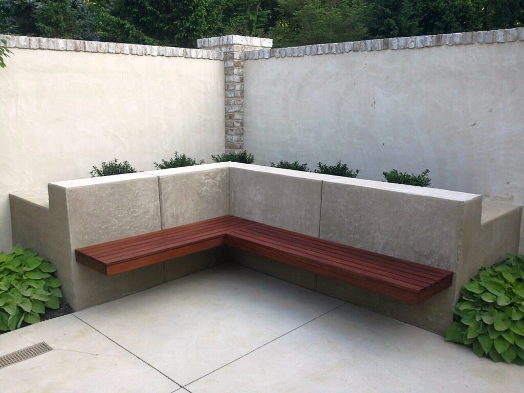 Planting terrace with floating bench surrounded by masonry garden walls, Lancaster, PA