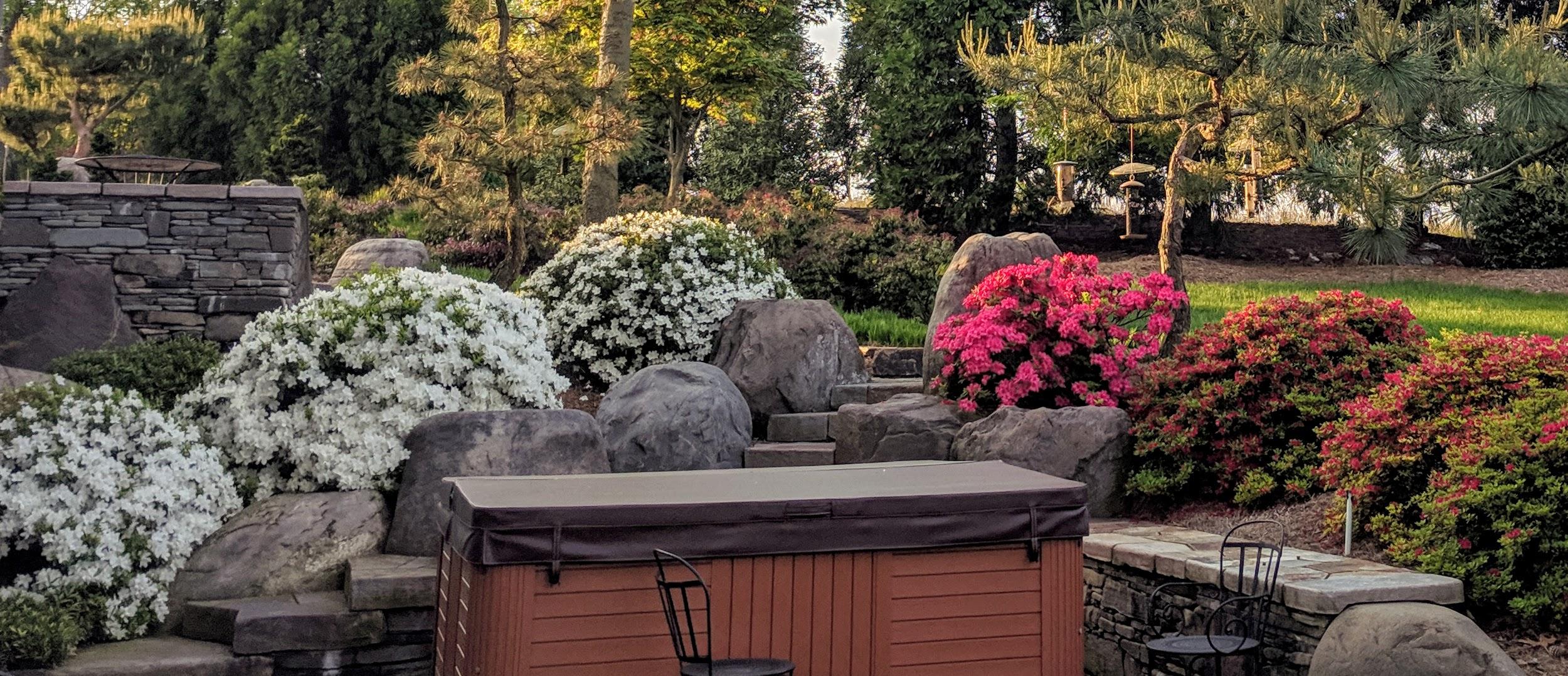 Inspiring garden surrounds hot tub, Manheim, PA