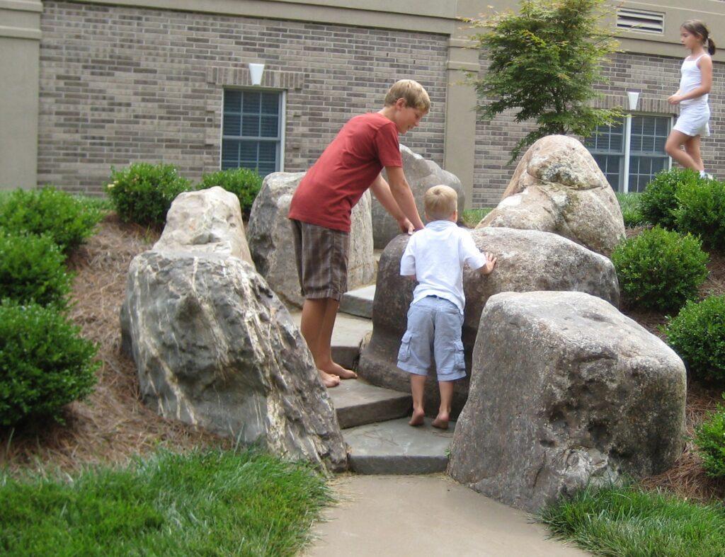 Children explore custom-fit, natural Bluestone steps, Lancaster PA
