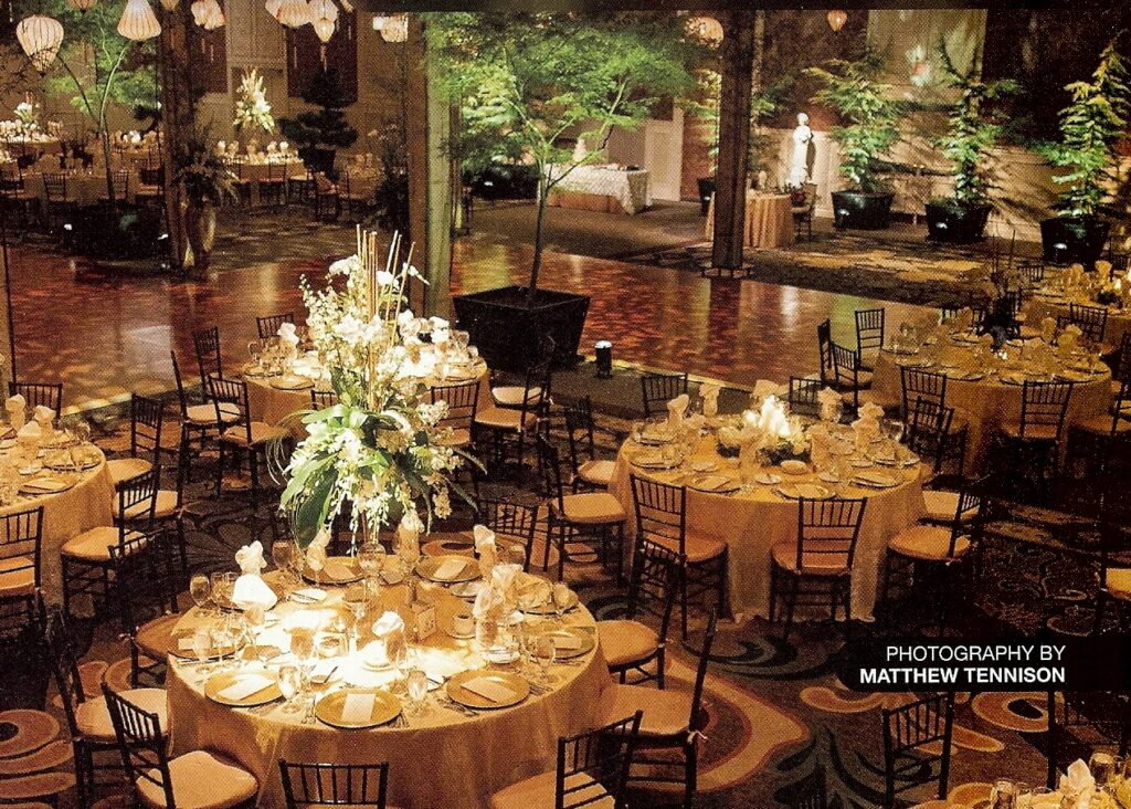 Special event and wedding rentals of mature trees in boxes (Shown here at Hershey Lodge), Hershey, PA