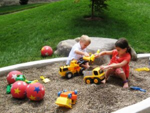 Exploration, touch and play in garden designed for children, Lancaster, PA