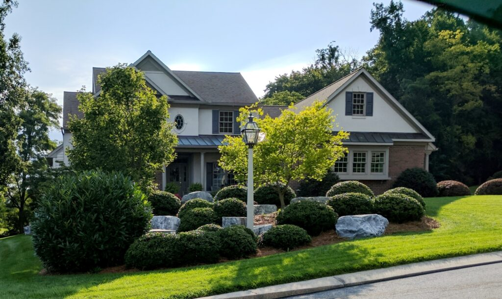 Sunlight reveals the clean lines of healthy, pruned shrubs, Columbia, PA