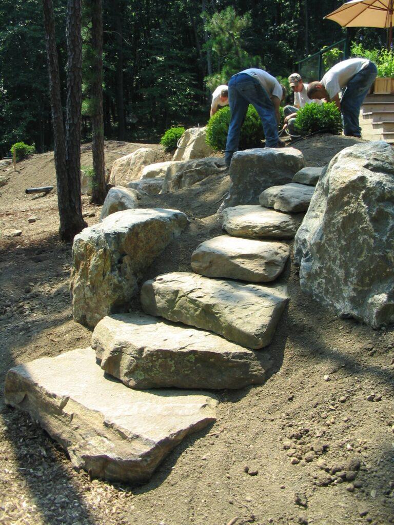 Boulder steps provide path between garden levels, Dillsburg, PA