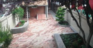 Recycle and reuse of paving brick in historic city courtyard, Lancaster, PA