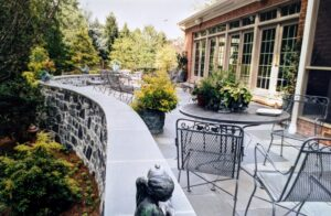 Natural Limestone walls, capped with Bluestone, provide safety barrier and seating, Harrisburg, PA