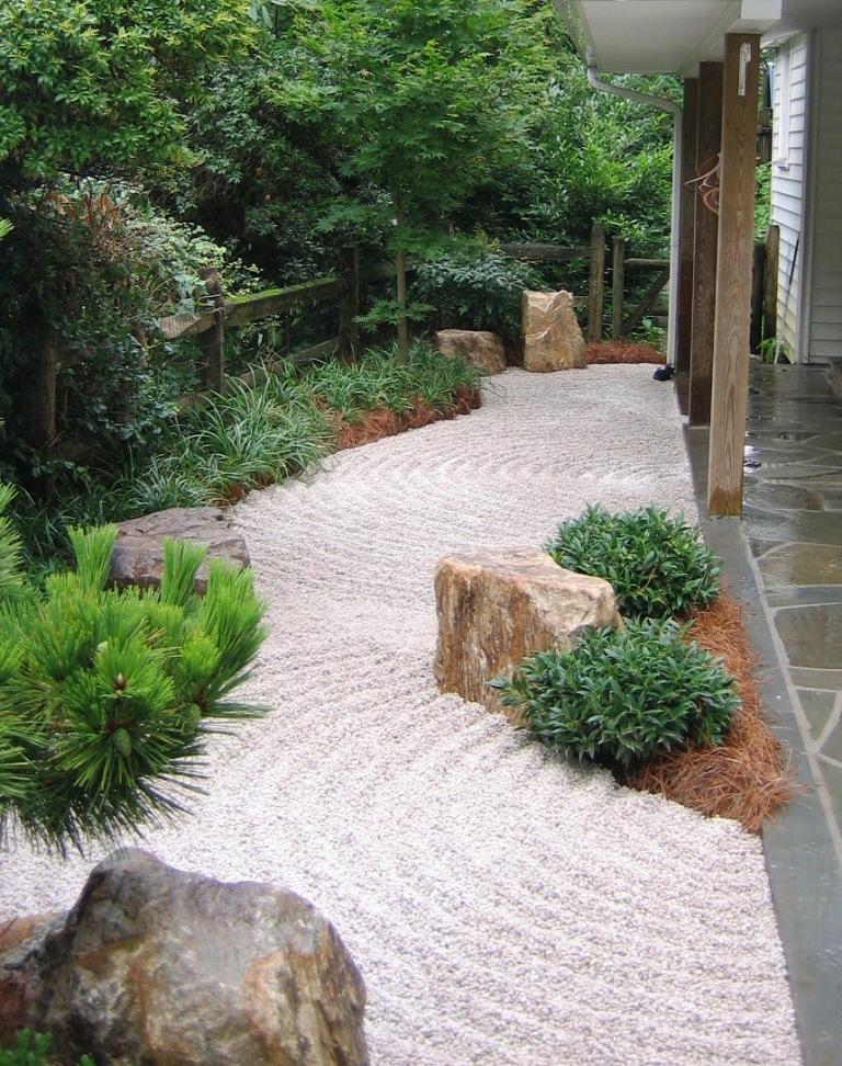 "Stone and gravel karesansui ""dry river"", Penn Valley, PA"