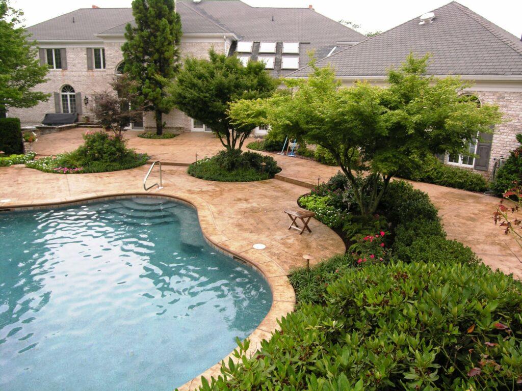 Textured concrete paving as pool surround patios, Manheim, PA