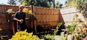Bamboo fence panels last much longer on cedar posts with natural stone foundation walls, Harrisburg, PA