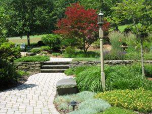 Paver paths connect country garden terraces, Morgantown, PA
