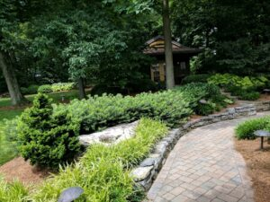 """Herringbone-patterned paver path with """"soldier course"""" edging, Elizabethtown, PA"""