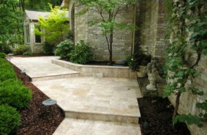 Travertine paths lead to elegant home, Hershey, PA