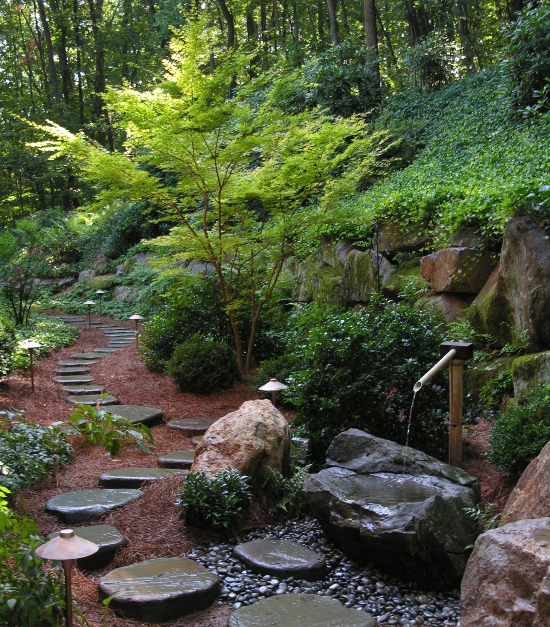 Stepping stone path and tsukubai bring tranquility to this hillside garden, Lancaster, PA