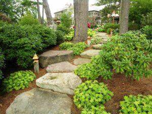 Rugged stone path through woodland garden, Elizabethtown, PA
