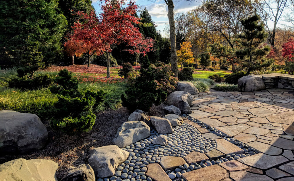 Evergreen trees embrace the garden with privacy and shelter, Manheim, PA