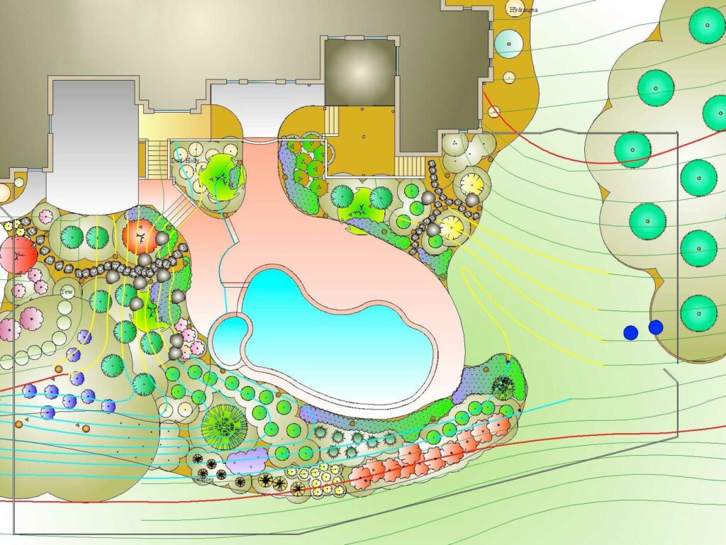 CAD 2-D plan for pool terrace garden, Leola PA