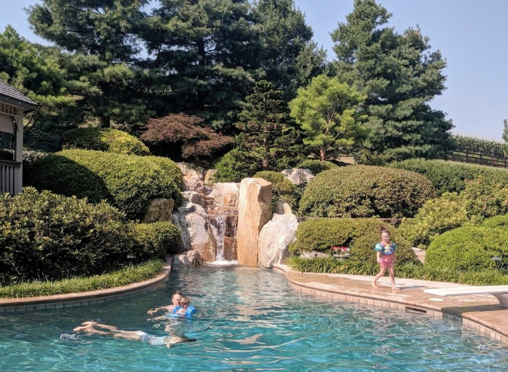 Hillside garden with waterfall reminds clients of Costa Rica vacation, Manheim, PA