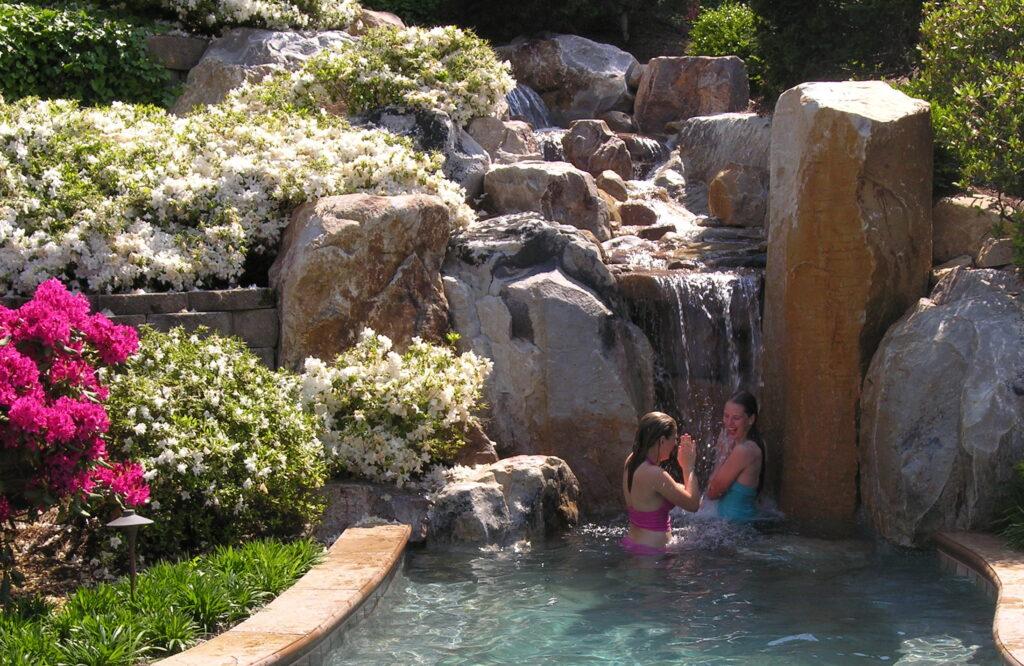 In Summer . . . girls in waterfall 1